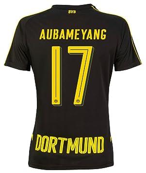 Puma Borussia Dortmund Away – Camiseta de fútbol 2016 2017 Niños Aubameyang  17 Negro Amarillo c261abf2a6b06