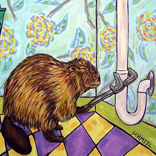 - Beaver Plumber animal decor art tile coaster gift