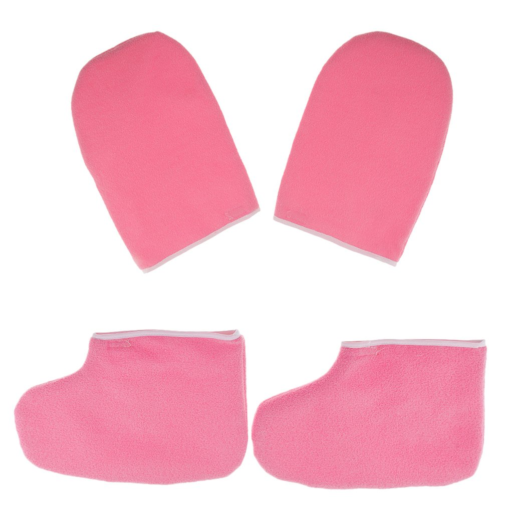 MagiDeal 2 Pairs Soft New Paraffin Wax Protection SPA Hand Foot Mitts Moisturizing Gloves Booties for Warmer Wax Heater Manicure Supply