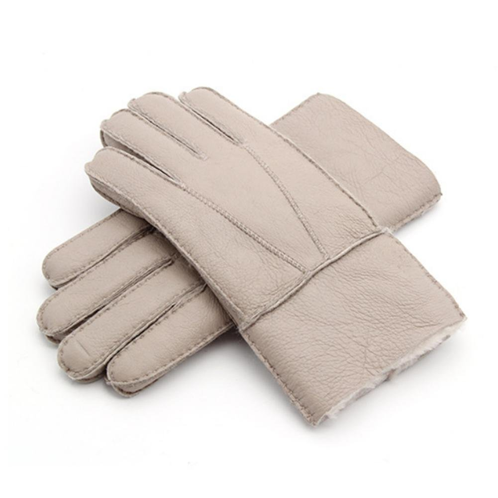 YANXH Winter The New Men Sheepskin Gloves Fur One Keep Warm Genuine Leather Gloves , black YANXH Sports
