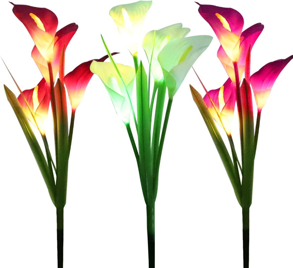 WOSPORTS 3 Pack Solar Lights Outdoor Garden Stake Flower Lights with Total 12 Lily Flower, Multi Color Changing LED Lily Solar Powered Lights for Patio, Lawn, Garden, Yard Decoration