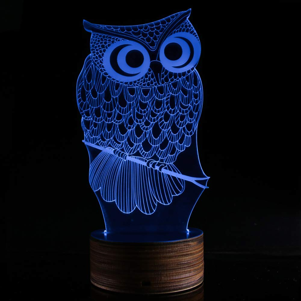 Novelty Lamp, 3D LED Lamp Optical Illusion Owl Night Light, USB Powered Remote Control Changes The Color of The Light, Furniture Desk Lamp Home Decoration Toy,Ambient Light by LIX-XYD (Image #4)