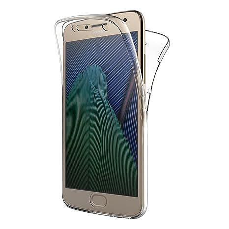 AICEK Funda Moto G5 Plus, Transparente Silicona 360°Full Body Fundas para Motorola Moto G5 Plus Carcasa Silicona Funda Case (5.2
