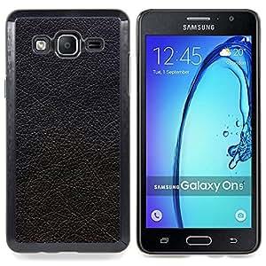 For Samsung Galaxy On5 SM-G550FY G550 - Black Textured Leather Hide Grey /Modelo de la piel protectora de la cubierta del caso/ - Super Marley Shop -