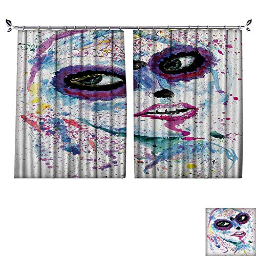DESPKON The Shade Block Ultraviolet Grunge Halloween Lady with Sugar Skull Make Up Creepy Dead Gothic Woman Artsy for Bedroom, Living Room, for Shade. W120 x L96 -
