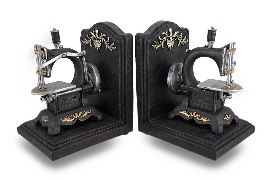 Vintage Nostalgia Sewin Machine Cast Resin Bookend set