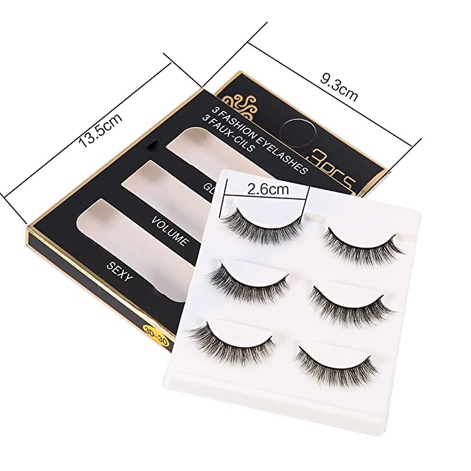 Pestañas Postizas 3 pares de Naturales Maquillaje hecho a mano profesional grueso falso pestañas postizas falsas Nuevo(3D35): Amazon.es: Belleza
