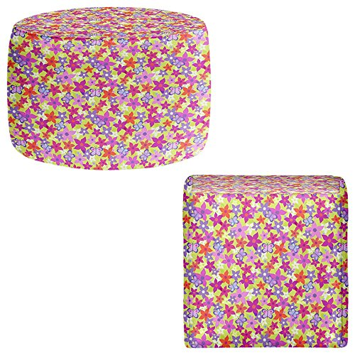DiaNoche Designs Foot Stools Poufs Chairs Round or Square from by Julia Grifol - Happy Garden from DiaNoche Designs