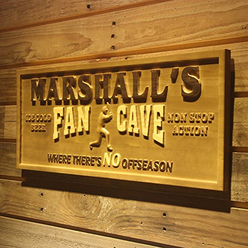 (ADVPRO wpa0082 Name Personalized Baseball Fan Cave Man Cave Bar Beer Sport 3D Engraved Wooden Sign - Medium 18.25