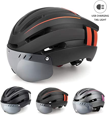 BLLJQ Casco Bicicleta Ciclismo, Casco de Bicicleta de Montaña para Adultos con Visera de Gafas Magnéticas Desmontables y Luz de Advertencia LED, para Bicicleta de Carretera BMX Riding,Black & Orange: Amazon.es: Hogar