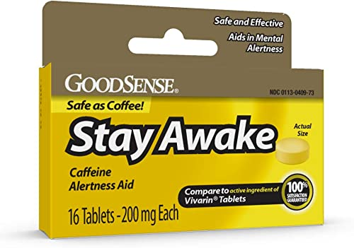 GoodSense Stay Awake, Caffeine Alertness Aid, Caffeine 200 mg, Aids in Mental Alertness