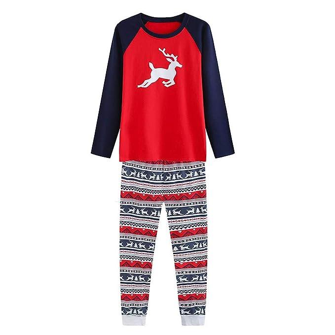Luckycat Hombres Mujeres Niños Bebé Ciervo Camiseta Pantalones Familia Pijamas Ropa de Dormir Conjuntos de Navidad