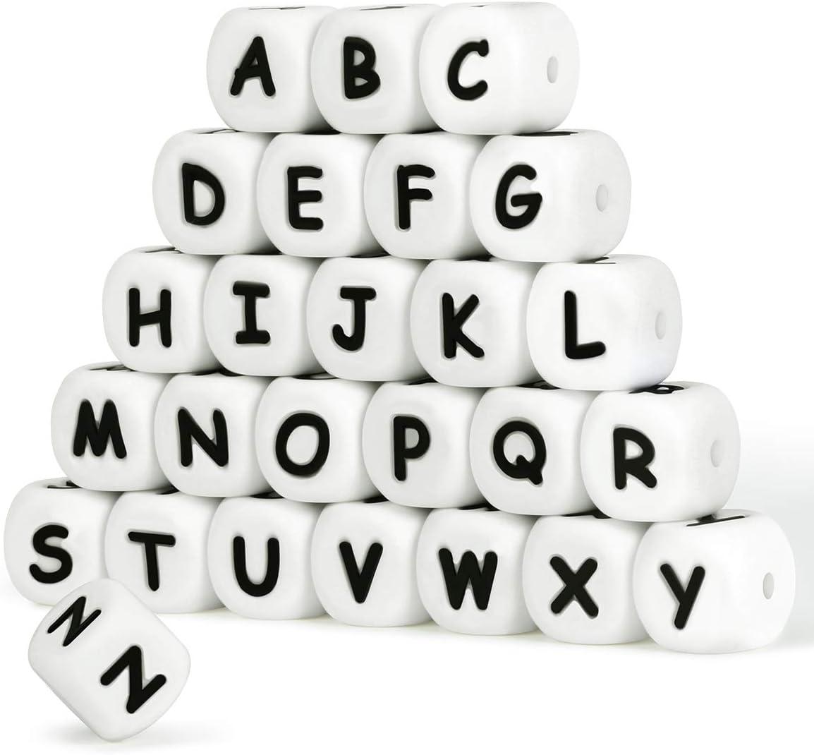 Silicona Letras Cuentas de Dentición,English Alphabet 12mm Cube Haga su propio kit de bricolaje a granel Mix 104pcs Nombre personalizado Baby Teether Chew Beads Sin BPA