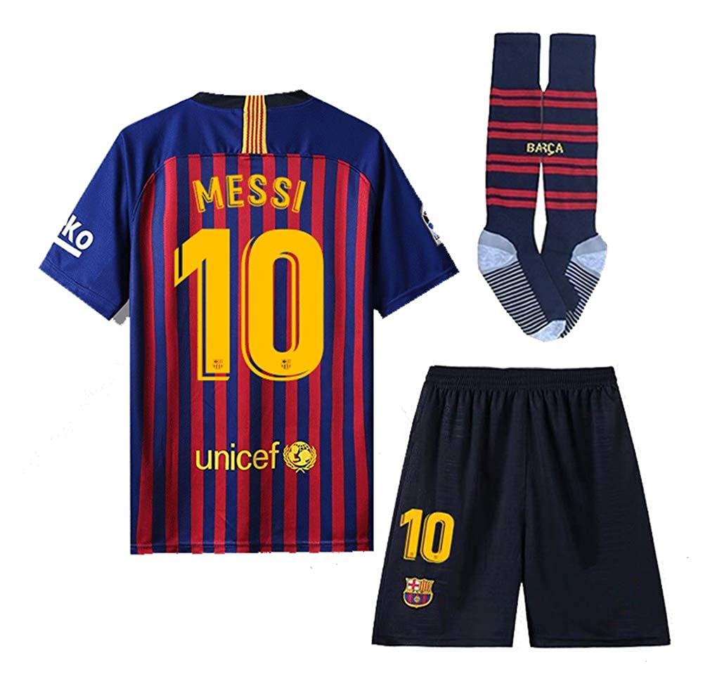 3ced41ed4 Whatrce Glfosenrs  10 Messi Barcelona Home Kids Youths Soccer Jersey    Shorts   Socks