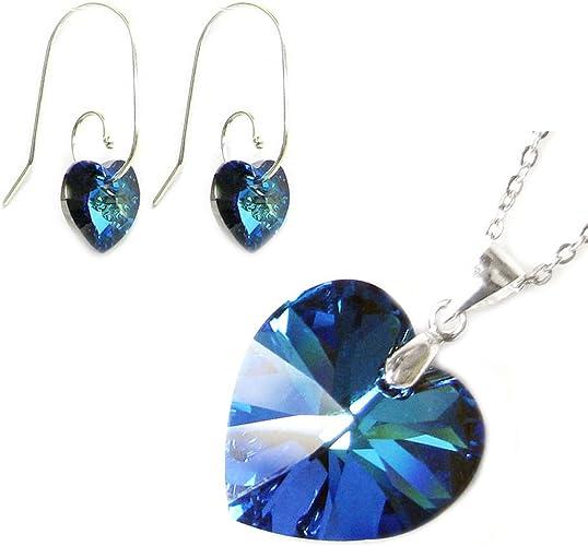 Parure collier et boucles d'oreilles en forme de cœur en argent sterling  avec cristaux Swarovski Bleu 40,6 cm + rallonge de 5,1 cm