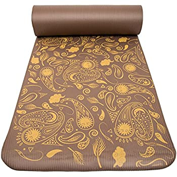 """Peace Yoga Extra Thick Exercise Mat Brown Paisley ½"""" Inch"""