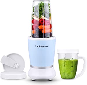La Reveuse Personal Size Blender 250 Watts Power for Shakes Smoothies Seasonings Sauces with 1 Piece 15 oz Cup,1 Piece 10 oz Mug,BPA Free