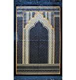 Prayer Rug - Wide Large Velvet Muslim Namaz Sajadah Janamaz Islamic Namaz Seccade Turkish Prayer Mat Carpet Geometric Blue
