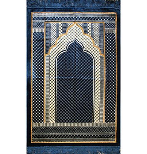 Prayer Rug - Wide Large Velvet Muslim Namaz Sajadah Janamaz Islamic Namaz Seccade Turkish Prayer Mat Carpet Geometric Blue by Modefa