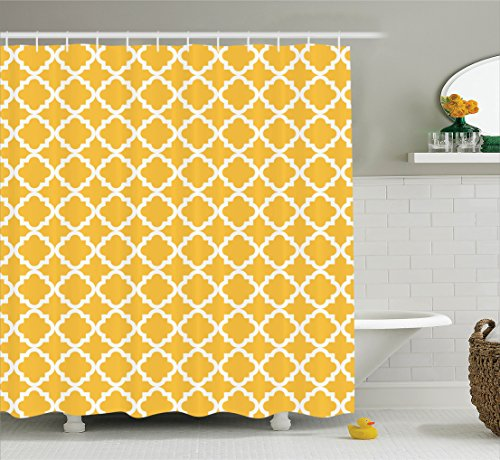 yellow and white shower curtain - 7