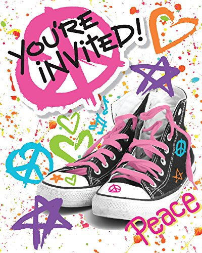 Creative Converting 8 Count Totally 80's Party Invitation with Attachment, Multicolor ()