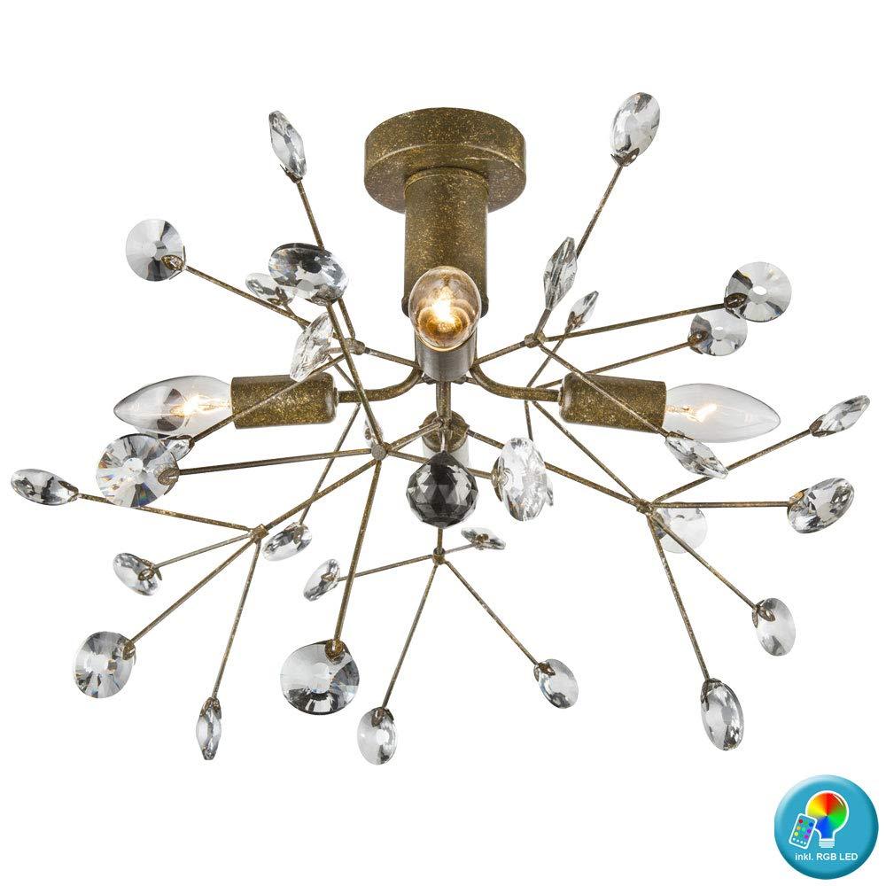 Decken Lampe dimmbar Blätter Kristalle Fernbedienung Leuchte im Set inklusive RGB LED Leuchtmittel