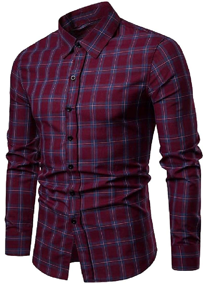 Sweatwater Mens Buffalo Casual Slim Fit Checkered Button Down Square Collor Shirts