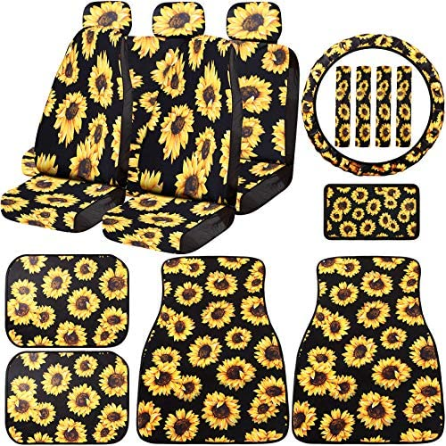 17 Pieces Sunflower Car Accessories Set Include 7 Sunflower Seat Covers 4 Sunflowers Car Mat 4 Seat Belt Shoulder Pads 1 Sunflower Steering Wheel Cover 1 Center Console Armrest Pad Auto Decoration