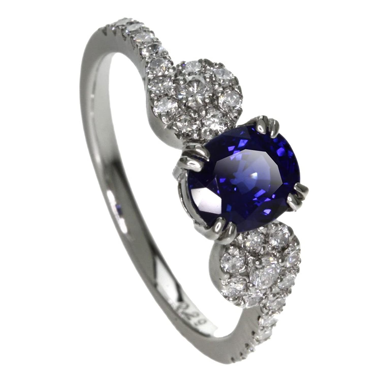 3.5g サファイア/ダイヤモンド リング指輪 プラチナPT900 レディース (中古) B0761ND5KN