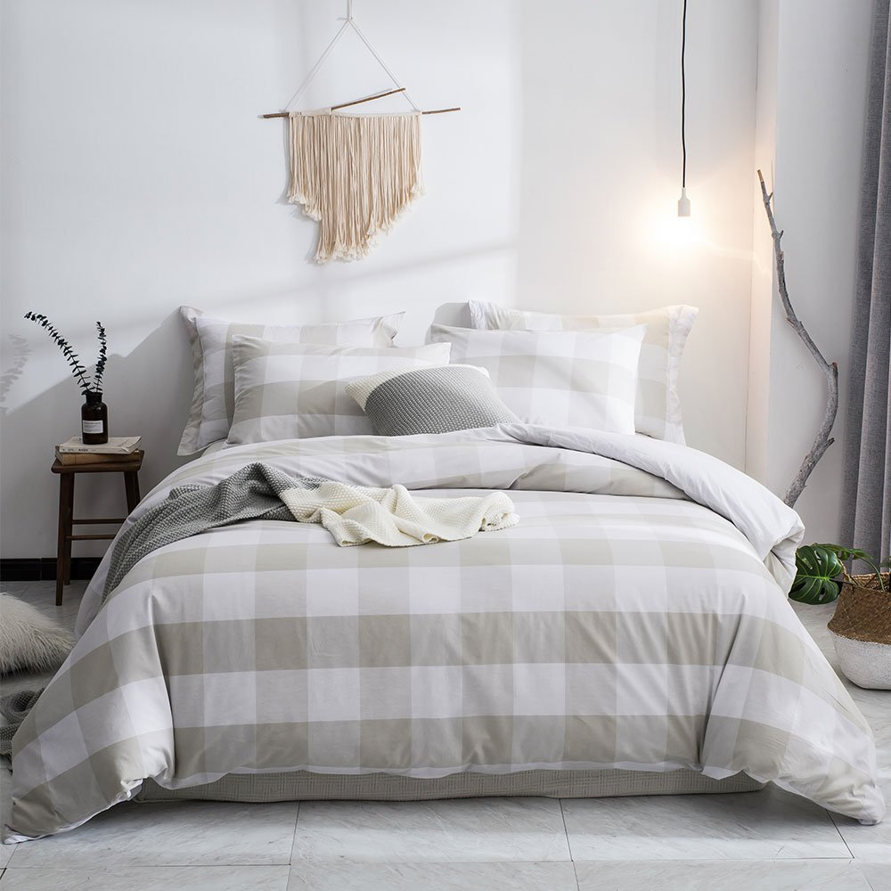 Merryfeel Duvet Cover Set,100% Cotton Yarn Dyed Plaid Check Duvet Cover Set - Full/Queen Linen