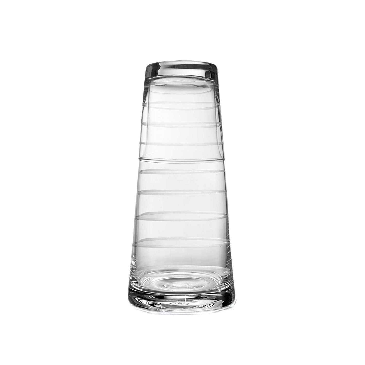 Office-Gift 4.2 x 9.4 Clear Elegant Pitcher and Matching Drinking Glass Acts As Lid for Guest Room Fifth Avenue Crystal 229814-R2GB Medallion Bedside Water Carafe and Tumbler