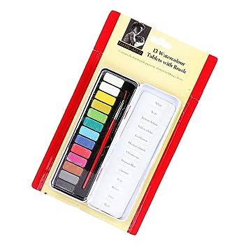 MagiDeal 13 Farben Aquarellkasten Aquarellfarben mit Pinsel & Kasten ...
