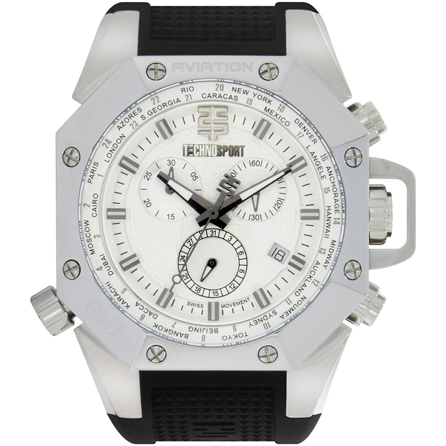 TechnoSport Herren Chrono Uhr - AVIATION silber