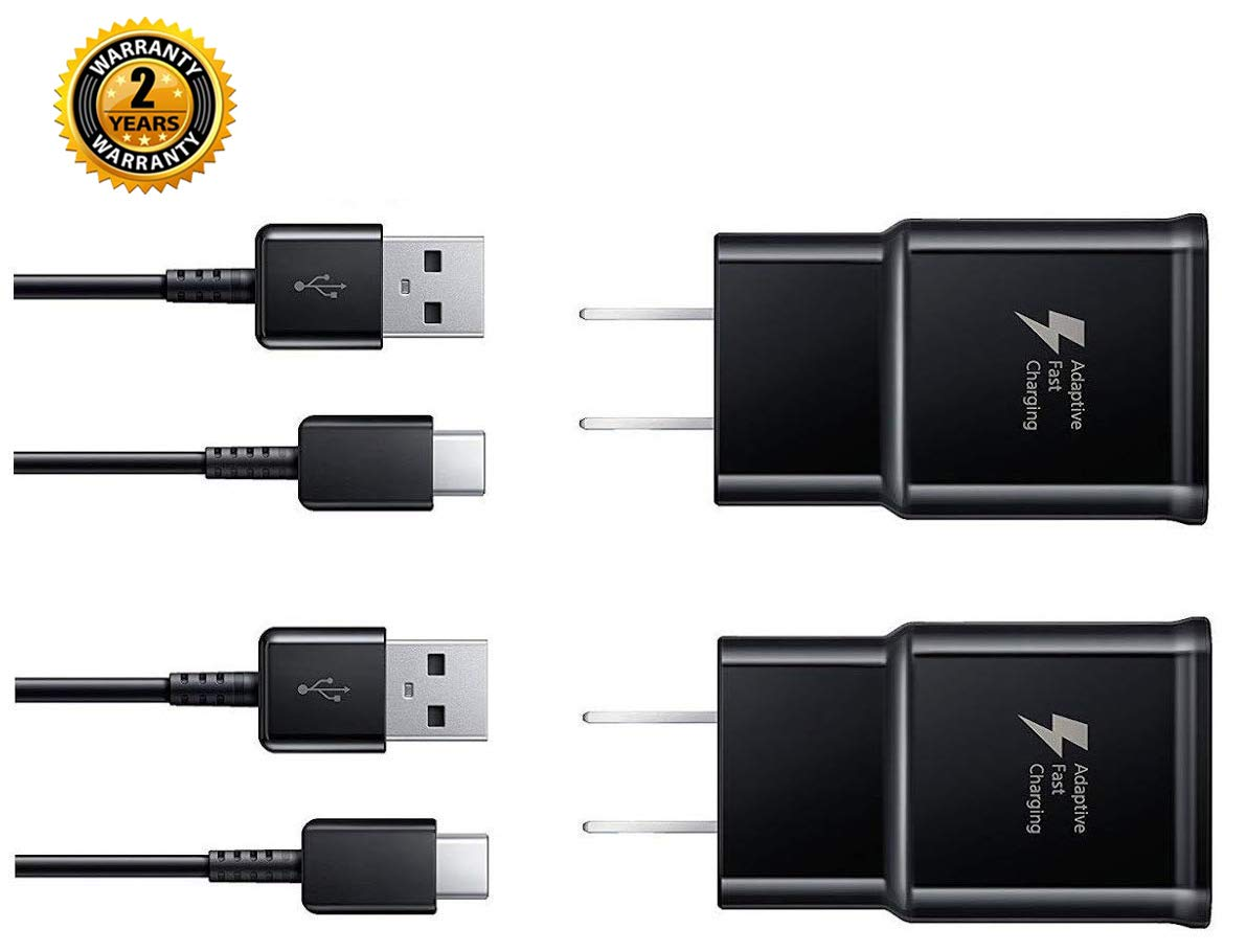 Wall Charger Adaptive Fast Charger Kit,ChiChiFit 2 Pack Travel Charging Adapter + 2 Type-C USB Data Cables Compatible with Samsung Galaxy S8/S9/S10 Plus/note8/9 and More by ChiChiFit