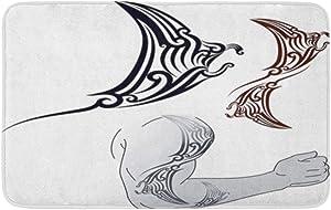 "Adowyee 16""x24"" Bath Mat Maori Styled Tattoo Pattern in Shape of Manta Ray Cozy Bathroom Decor Bath Rug with Non Slip Backing"