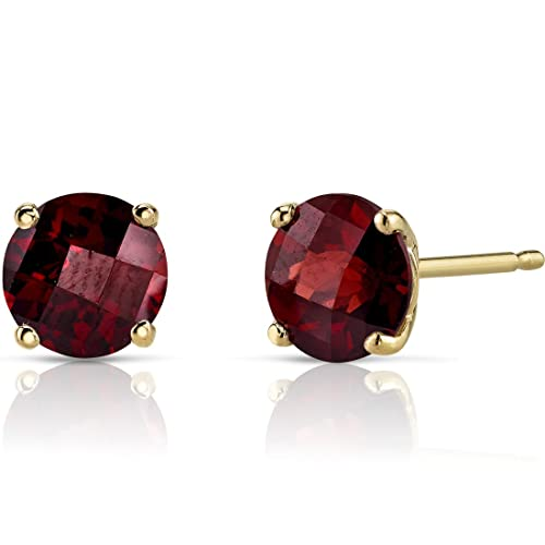 14K Yellow Gold Round Cut 2.25 Carats Garnet Stud Earrings