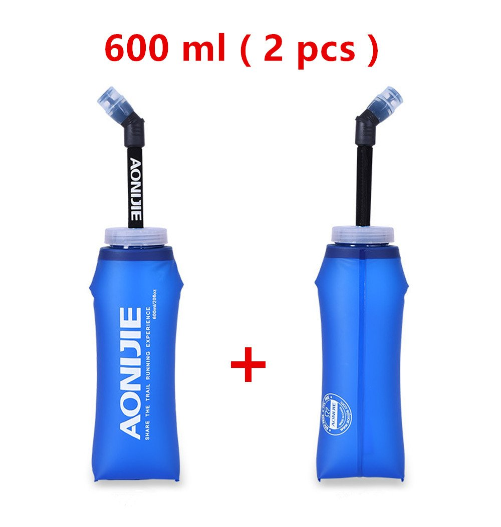 besixer折りたたみ式Tpuソフトロングストロー水ボトルケトルアウトドアスポーツ水バッグHydration Pack withストローfor Runningハイキングサイクリング登山 B07FLTJ5KP 600ML/2PCS
