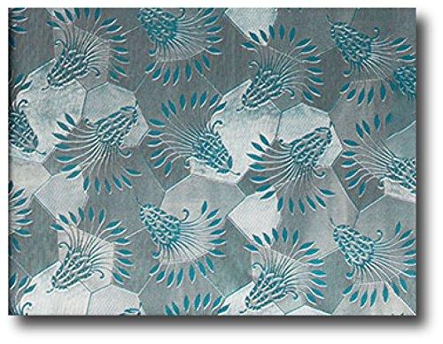 15 Ft Roll Elegant Peacock Thistle Embossed Foil Teal Gift Wrap Paper - 30