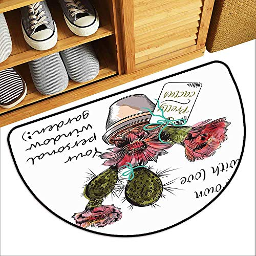 DILITECK Interesting Doormat Cactus Sketch Prickly Pear Watercolor Style Exotic Tropic Succulent Plant for Window Garden Super Absorbent mud W24 xL16 Multicolor