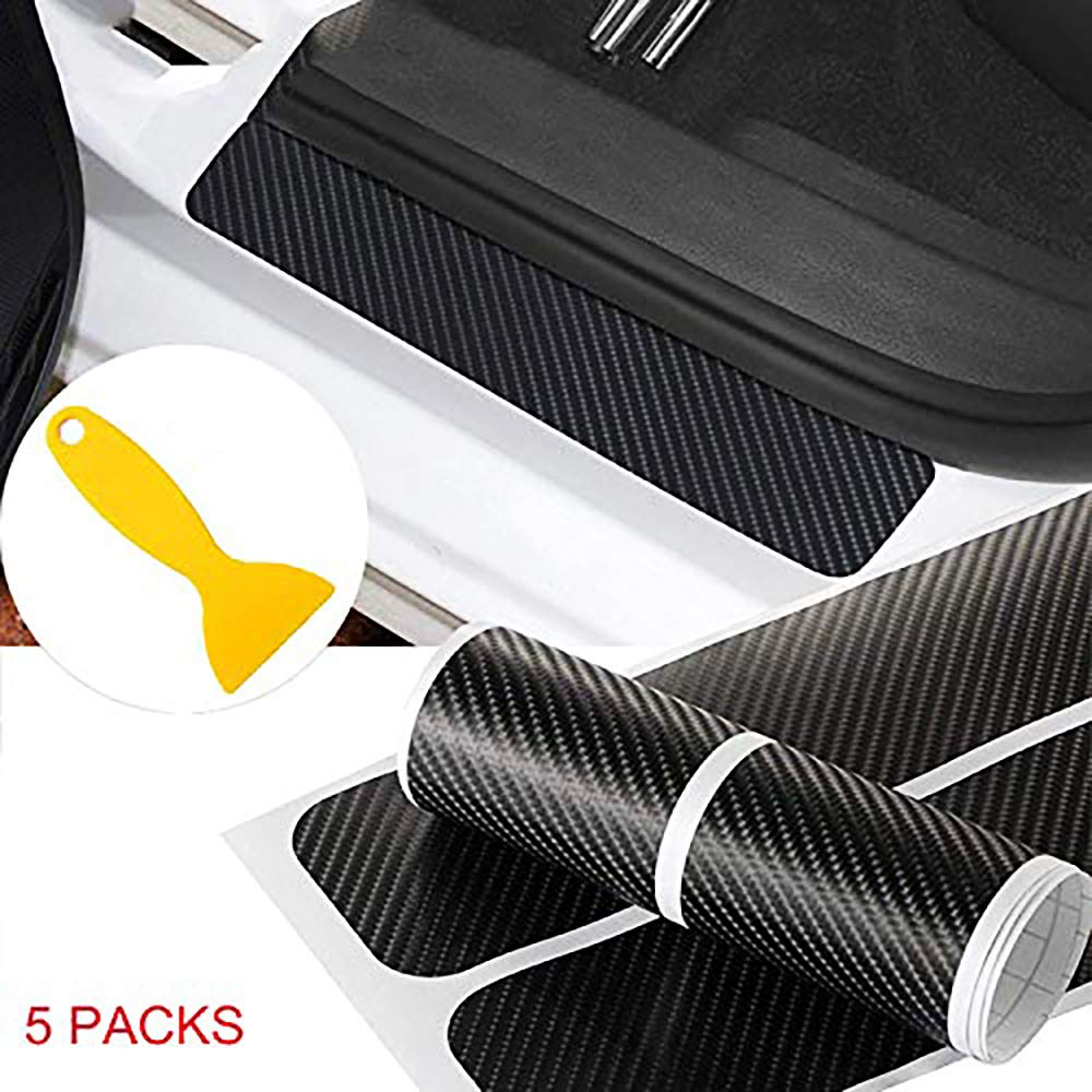 Door Sill Protectors for Cars, 5Pcs 4D Carbon Fiber Car Door Sill Scuff Guard Pedal Protector Scuff Plate Sticker Anti-Kick Scratch with Strong Adhesive and Scraper for Car SUV Pickup Ford Truck Sedan PICK FOR LIFE