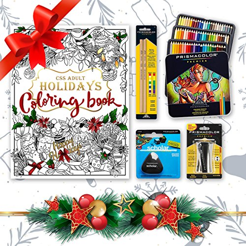 Holidays Bundle - Prismacolor 72-Count Colored Pencils, Triangular Scholar Pencil Eraser, Premier Pencil Sharpener, Colorless Blender Pencils, and Adult Coloring Book