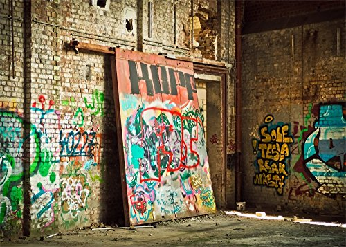 Leowefowa 7X5FT Graffiti Backdrop Ruined Old Factory Room Hand Painted Grunge Mural Rustic Brick Wall Vintage Floor Interior Vinyl Photography Background Kids Adults Photo Studio Props
