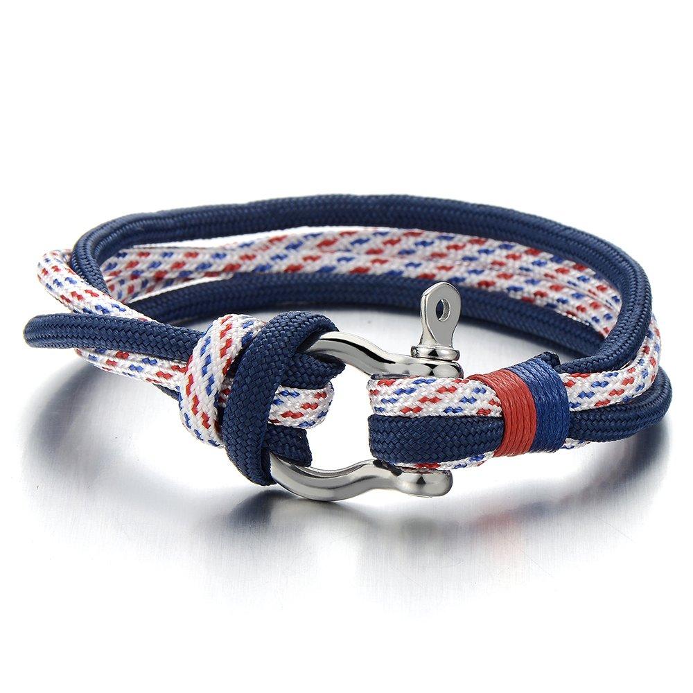 Man Women Steel Screw Anchor Shackles Blue Nautical Sailor Rope Cord Braided Wrap Bracelet Wristband COOLSTEELANDBEYOND MB-921-CA