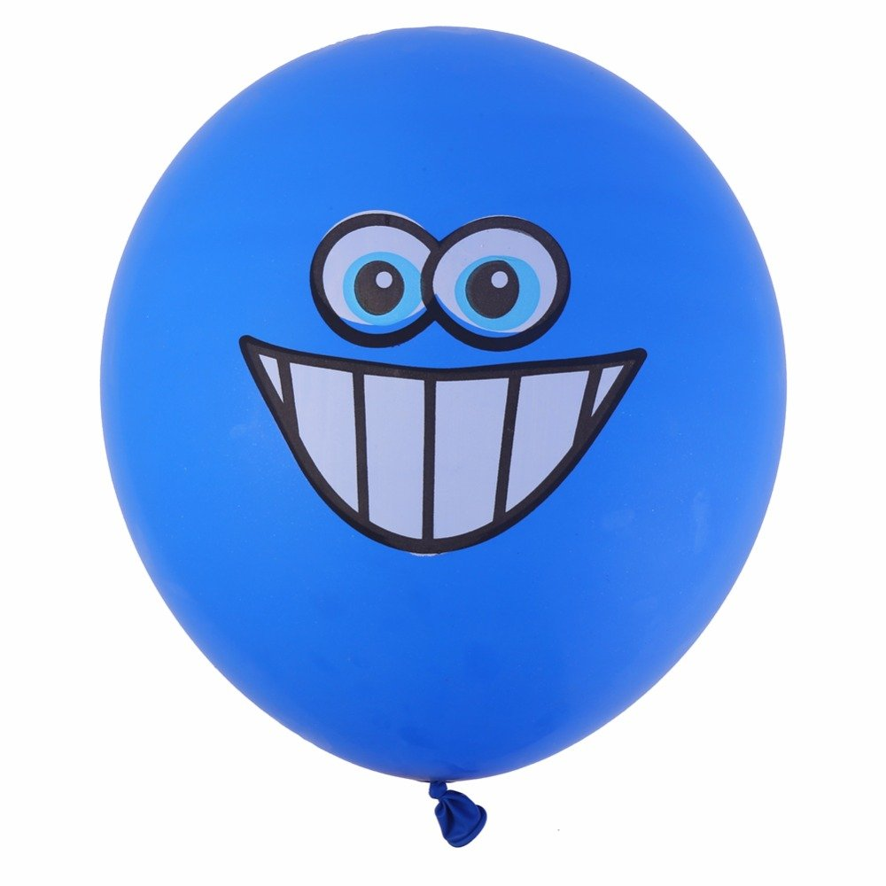 Zebratown 100pcs 12'' Cute Printed Big Eyes Smiley Latex Balloons Happy Birthday Party Decoration Inflatable Air Ballons Balls for Kids Gift