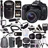 Canon EOS 80D DSLR Camera with 18-55mm Lens + Canon EF-S 55-250mm f/4-5.6 IS STM Lens + Sony 32GB SDHC Card + Battery + Charger + HDMI Cable + Remote + Card Reader + Flash + Tripod Video Creator Kit