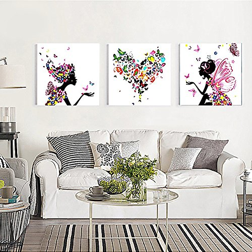 Pack of 3 [Wooden Framed] Paint by Numbers Diy Painting, Paint by Number Kits- Butterfly Fairy(20x20inchx3)