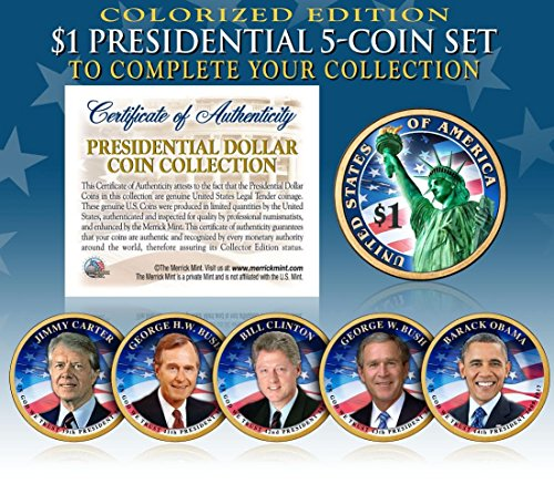 LIVING PRESIDENTS 2016 Presidential $1 Dollar COLORIZED 2-SIDED 5-Coin Full Set ()