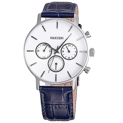 (Azul/Negro) Relojes para Hombre NAKZEN Mejor Marca Lujo Cronógrafo Banda de Cuero