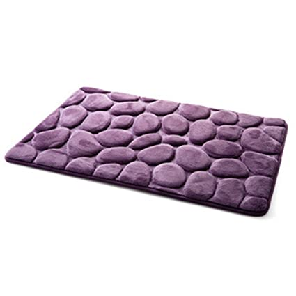 Décor-Saymequeen Saymequeen 16x24 inch 3D Cobblestone Carpets Entrance  Doormat Kitchen Rug Bathroom Bedroom Mat Pebbles Carpets (purple)