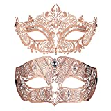 Couples Venetian Laser Cut Masquerade Mask,Halloween Mardi Gras Party Mask (Roes Gold+Roes Gold)
